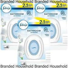 3 FEBREZE BATHROOM 2 IN 1 COTTON FRESH AIR FRESHENER SMALL SPACES OFFICE HOME