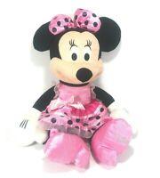 "18"" MINNIE MOUSE Plush Disney Just Play - Pink Dress Bow Pink black Polka Dot"