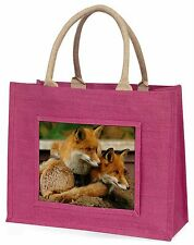 Cute Red Fox Cubs Large Pink Shopping Bag Christmas Present Idea, AF-11BLP
