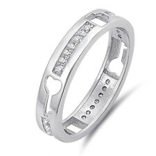 Key to my Heart Simulated Diamond Sterling Silver Engagement Wedding Band Ring