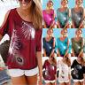 UK Womens Tops Feather Beach Loose Cold Shoulder Blouse Ladies Summer Sweatshirt