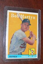BOB MARTYN SIGNED AUTOGRAPHED 1958 TOPPS CARD 39 KANSAS CITY ATHLETICS A'S