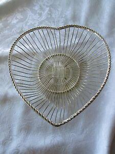 Vintage Silver-plate Wire Heart Basket 8.25 x 8.75 x 2.5 International Silver