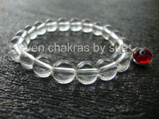 Feng Shui - 8mm Clear Quartz + Red Sterling Silver Evil Eye