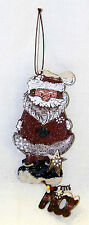 Rusted Tin Santa Ornament Craft Primitive Painted Curled Tin Beaded with Snow