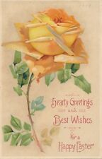 EASTER – Yellow Rose Best Wishes For a Happy Easter Rotograph Postcard