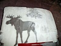 "NEW Winter MOOSE & TREES THROW Blanket 50"" X 60"" VELVET Fleece BERBER Gray White"