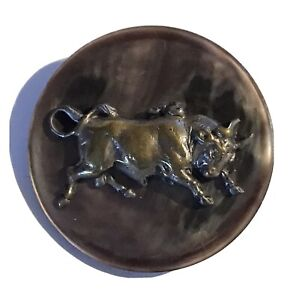 GORGEOUS ANTIQUE SHELL BUTTON WITH CHARGING BULL ESCUTCHEON