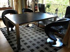 Schreibtisch Esstisch Naturstein + Edelstahl Nero Assoluto antik gebürstet Tisch
