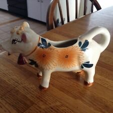 Vintage Cow Creamer With Cow Bell & Orange Flowers Japan