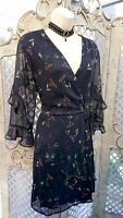 🌹MADEMOISELLE R 🌹NAVY FLORAL PRINT MOCK WRAP FRILL FIT & FLARE DRESS UK 16