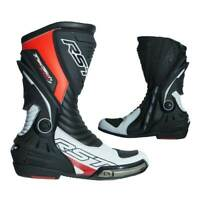 RST Tractech Evo 3 CE Motorcycle Motorbike Boots White / Fluo Red