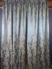 Vintage Pair 1930s Hollywood Regency Glam TEAL Blue Curtains Drapes Panels