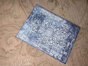 Dollhouse Miniature Canvas Floorcloth Covering Rug Carpet Blue & White 488