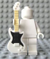 Custom ELECTRIC GUITAR For Lego Minifigures Rock & Roll -White W/Black Pickguard