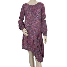 Free People Printed Ruffle Asymmetrical Cutout Dress Purple | 21745 D | Size M