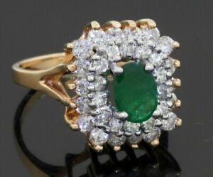 14K gold elegant 2.32CTW VS diamond/7 X 5mm Oval emerald cocktail ring size 6.5