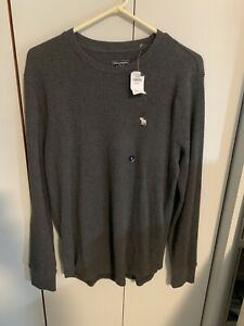 Abercrombie & Fitch mens M gray waffle knit thermal long sleeve