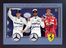 Julien Bottas Lewis Hamilton Sebastian Vettel Signed Print autographe encadrée