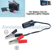 12V Cigarette Lighter Socket To Car Battery Pump Alligator Clip Charger Converte
