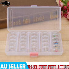25pcs Plastic Small Round Storage Container Bottle Jars with Rectangle Box EB