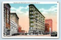 Syracuse, NY - EARLY c1920 STREET SCENE - GENESSE & WASHINGTON ST - Postcard A1