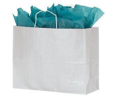 "Paper Bags 100 White Kraft Shopping Handles Vogue 16"" x 6"" x 12 ½"" High Large"