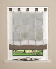 Raffrollo Rollo Schlaufen weiß transparent mit braunen Streifen 140x140cm