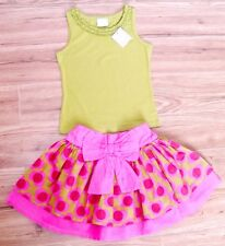 BNWT NEXT GIRLS TOP & SKIRT 4-5 YR NEW HOLIDAY PARTY FLOWER GREEN CHRISTMAS PINK
