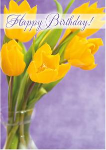 Gloss Birthday Card Tulips  Christian / Catholic Springtime 329A