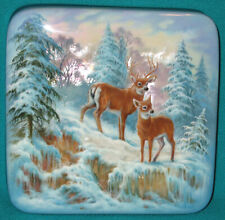 """Russian Hand Painted """"Deers"""" Fedoskino Wonderful LACQUER BOX"""