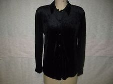VICTORIA'S SECRET MODA INT'L BLACK STRETCH VELVET BLOUSE SZ M NWOT!