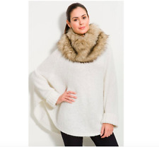 New Michael Kors Cream Gold Knit Faux Fur Collar Sweater Poncho XS 0 2