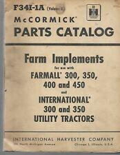 McCormick International Parts Catalog Farm Implements Farmall 300 350 400 450
