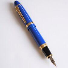 Jinhao #159 Blue Thick Fountain Pen Zebra G Super Flex Nib Calligraphy Gold Trim