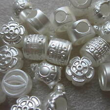 50 Big Hole Acrylic Round Beads European Charm Bracelets Assorted Designs