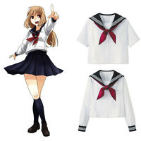 Japanese Women Girl JK High School Sailor Uniform Blouse Top With Red Scarf