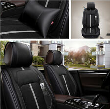 Upscale Black 5 Seater Car Seat Cover Breathable Fiber w/ Headrest&Lumbar Pillow
