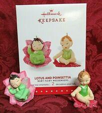 Hallmark 2015 Ornaments~Baby Fairy Messengers Series #1 ~Lotus And Poinsettia