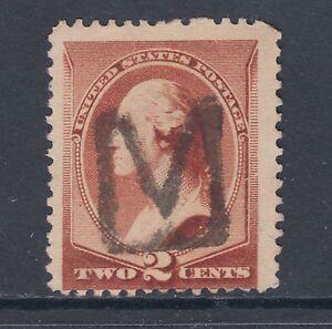"""US Sc 210 used 1883 2c Washington with """"M"""" Fancy Cancel"""