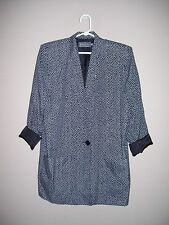Jimmy Garcia New York Womens Size M Black & White Lined Blazer Roll Up Sleeves