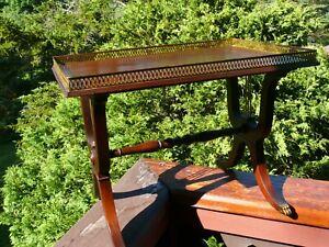 Antique MOHOGANY TEA TABLE w Harp Ends by Master Craftsmen, Sloane Furniture Div