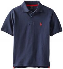 U.S. Polo Assn. Big Boy'S Solid Pique Polo, Navy/Red,10/12