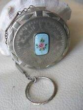 Antique Silver T Blue Guilloche Enamel Finger Ring Purse Flapper Dance Compact
