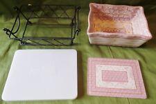 Pink Floral Baking Dish Temp-Tations Old World 1 Qt Bakeware Set Stoneware Oven