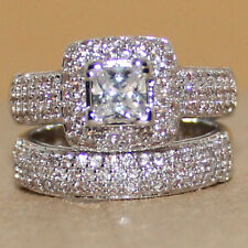 Lovers Pave Set 134pc Topaz Womens 925 Silver Handmade Deluxe Wedding Ring Set