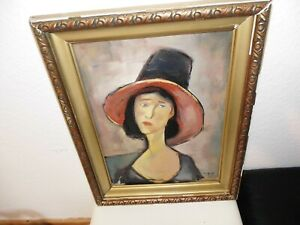 Porträt auf Holz signiert um 1920?