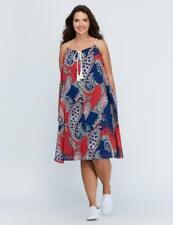 NEW LANE BRYANT BLUE RED PAISLEY CORDED SWING DRESS SUMMER VACATION PLUS 14-16