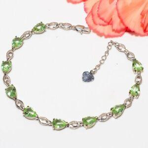 "Green Amethyst White Rhodium Tennis 925 Silver Bracelet 7-8"" F2526"