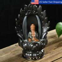 Ceramic Buddha Incense Burner Holder Buddhist Statue Smoke Backflow Home